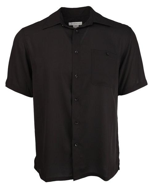 Black Linen Short Sleeve Shirt